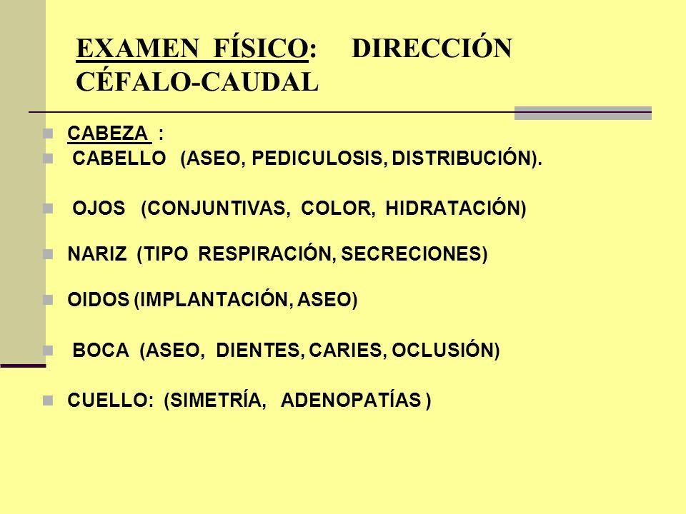 EXAMEN FÍSICO: DIRECCIÓN CÉFALO-CAUDAL CABEZA : CABELLO (ASEO, PEDICULOSIS, DISTRIBUCIÓN). OJOS (CONJUNTIVAS, COLOR, HIDRATACIÓN) NARIZ (TIPO RESPIRAC