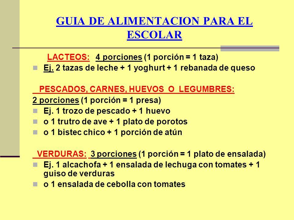 GUIA DE ALIMENTACION PARA EL ESCOLAR LACTEOS: 4 porciones (1 porción = 1 taza) Ej. 2 tazas de leche + 1 yoghurt + 1 rebanada de queso PESCADOS, CARNES