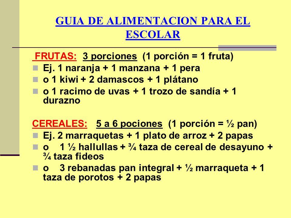 GUIA DE ALIMENTACION PARA EL ESCOLAR FRUTAS: 3 porciones (1 porción = 1 fruta) Ej. 1 naranja + 1 manzana + 1 pera o 1 kiwi + 2 damascos + 1 plátano o