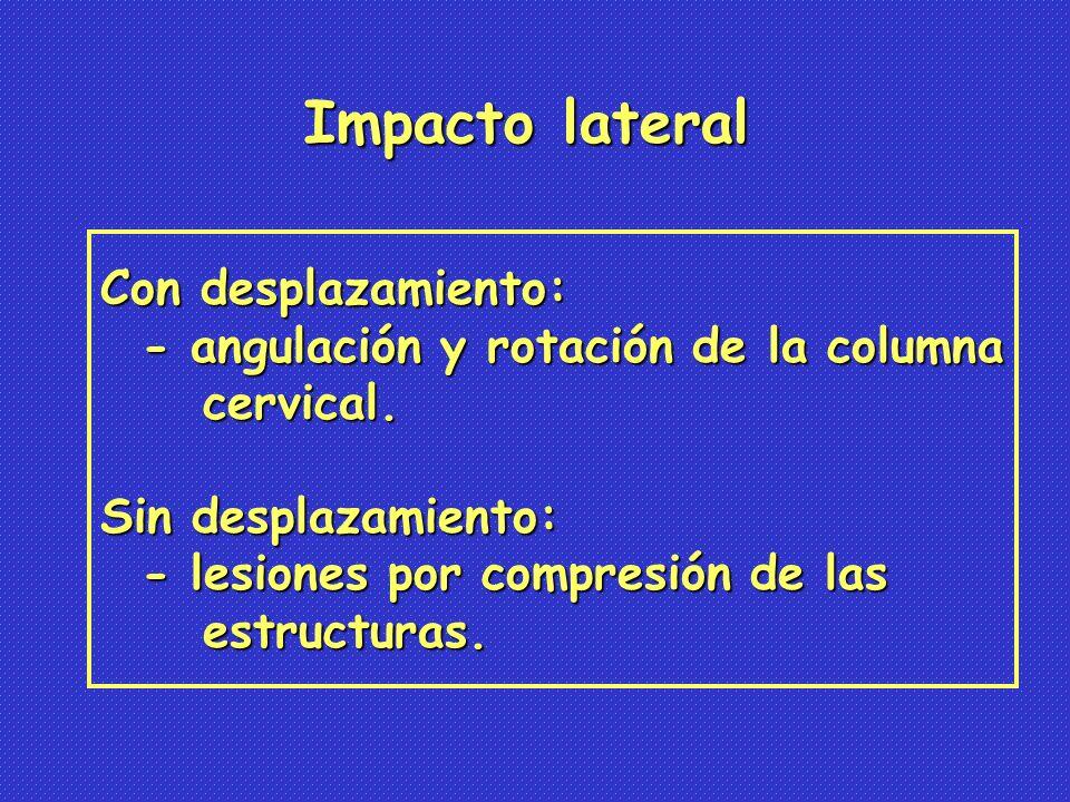 Con desplazamiento: - angulación y rotación de la columna - angulación y rotación de la columna cervical.