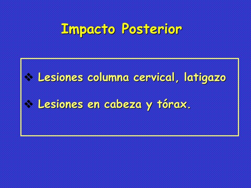 Lesiones columna cervical, latigazo Lesiones columna cervical, latigazo Lesiones en cabeza y tórax.