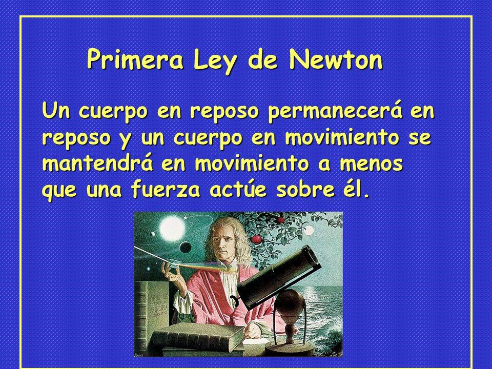 Primera Ley de Newton Un cuerpo en reposo permanecerá en reposo y un cuerpo en movimiento se mantendrá en movimiento a menos que una fuerza actúe sobre él.