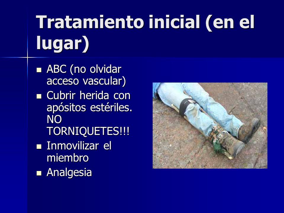 Tratamiento inicial (en el lugar) ABC (no olvidar acceso vascular) ABC (no olvidar acceso vascular) Cubrir herida con apósitos estériles. NO TORNIQUET