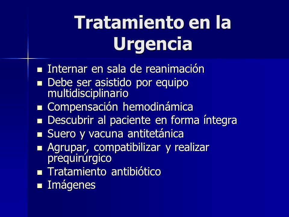 Tratamiento en la Urgencia Internar en sala de reanimación Internar en sala de reanimación Debe ser asistido por equipo multidisciplinario Debe ser as