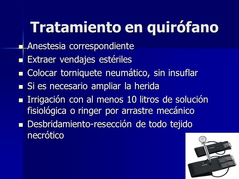 Tratamiento en quirófano Anestesia correspondiente Anestesia correspondiente Extraer vendajes estériles Extraer vendajes estériles Colocar torniquete