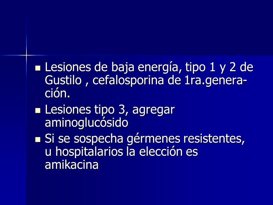 Lesiones de baja energía, tipo 1 y 2 de Gustilo, cefalosporina de 1ra.genera- ción. Lesiones de baja energía, tipo 1 y 2 de Gustilo, cefalosporina de