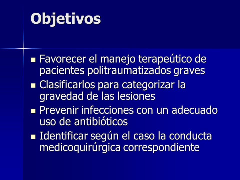 Objetivos Favorecer el manejo terapeútico de pacientes politraumatizados graves Favorecer el manejo terapeútico de pacientes politraumatizados graves