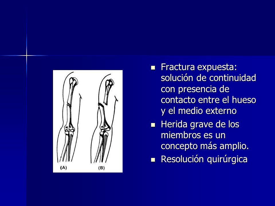 Fractura expuesta: solución de continuidad con presencia de contacto entre el hueso y el medio externo Fractura expuesta: solución de continuidad con