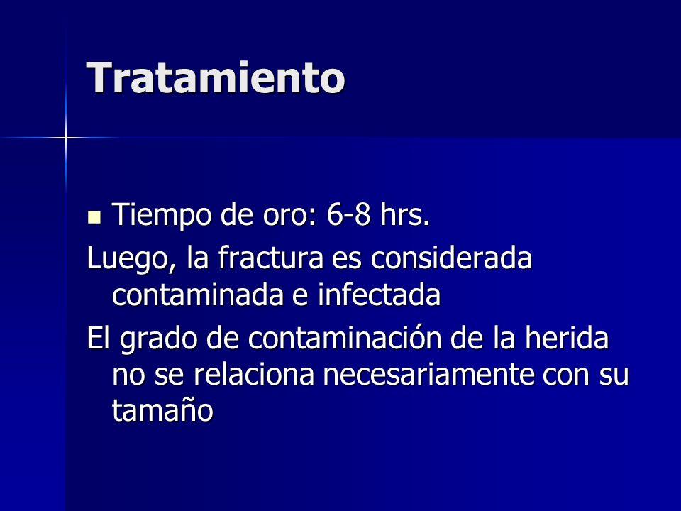 Tratamiento Tiempo de oro: 6-8 hrs. Tiempo de oro: 6-8 hrs. Luego, la fractura es considerada contaminada e infectada El grado de contaminación de la