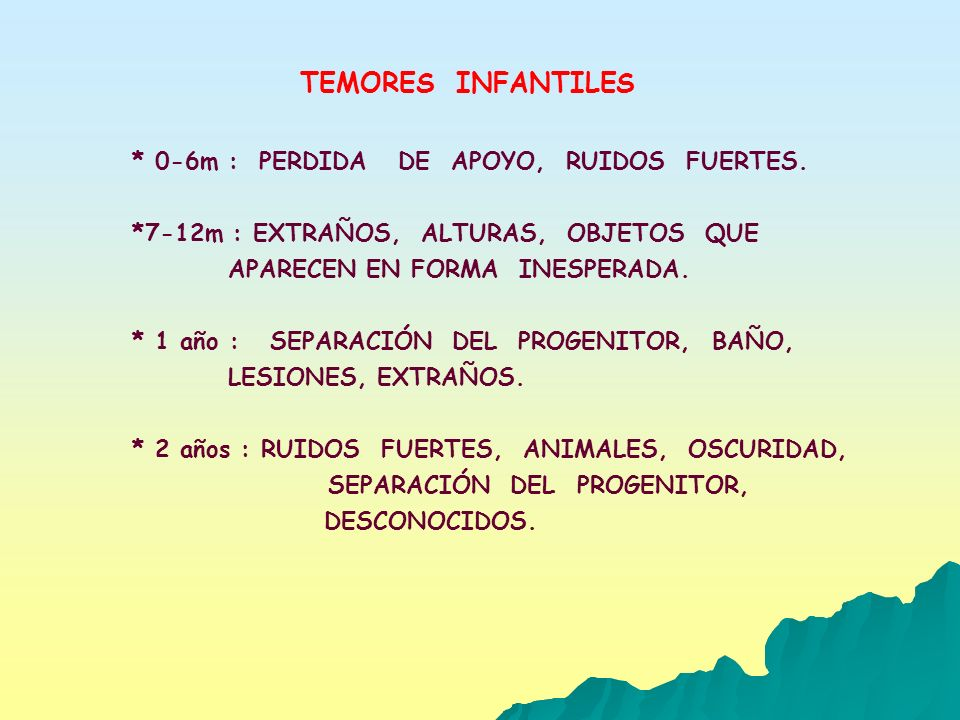 TEMORES INFANTILES * 0-6m : PERDIDA DE APOYO, RUIDOS FUERTES. *7-12m : EXTRAÑOS, ALTURAS, OBJETOS QUE APARECEN EN FORMA INESPERADA. * 1 año : SEPARACI