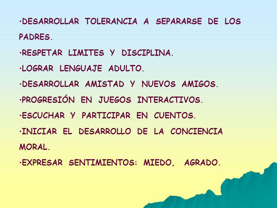 DESARROLLAR TOLERANCIA A SEPARARSE DE LOS PADRES. RESPETAR LIMITES Y DISCIPLINA. LOGRAR LENGUAJE ADULTO. DESARROLLAR AMISTAD Y NUEVOS AMIGOS. PROGRESI