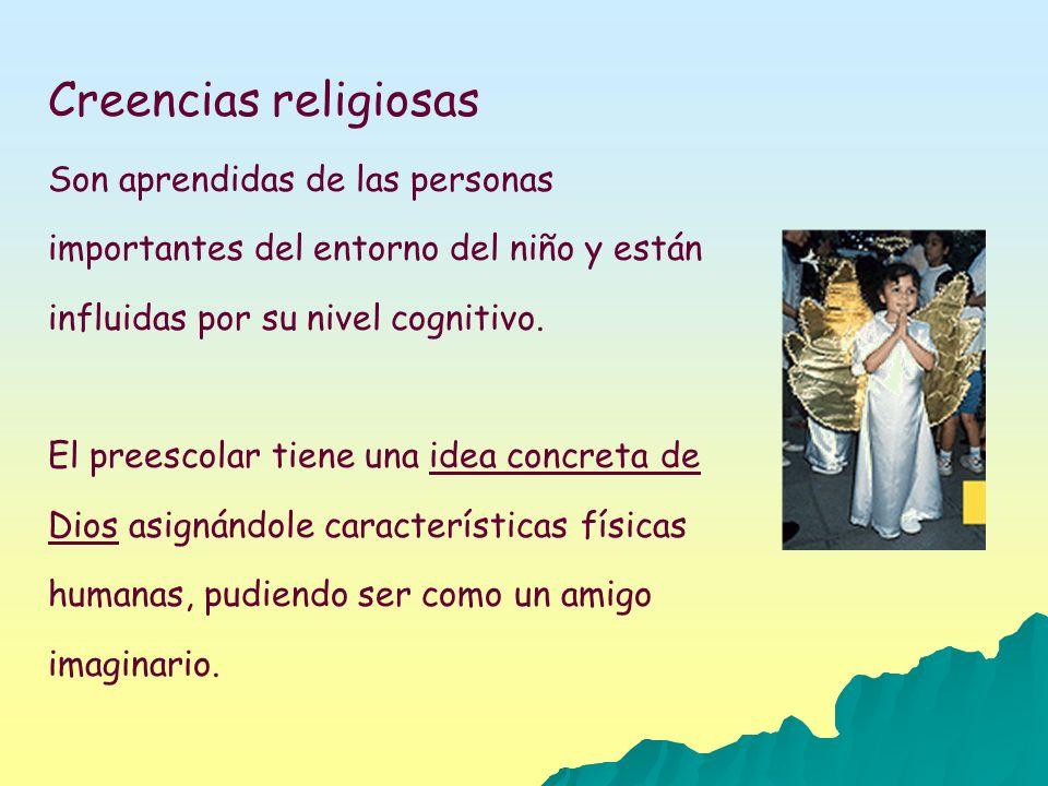 Creencias religiosas Son aprendidas de las personas importantes del entorno del niño y están influidas por su nivel cognitivo. El preescolar tiene una