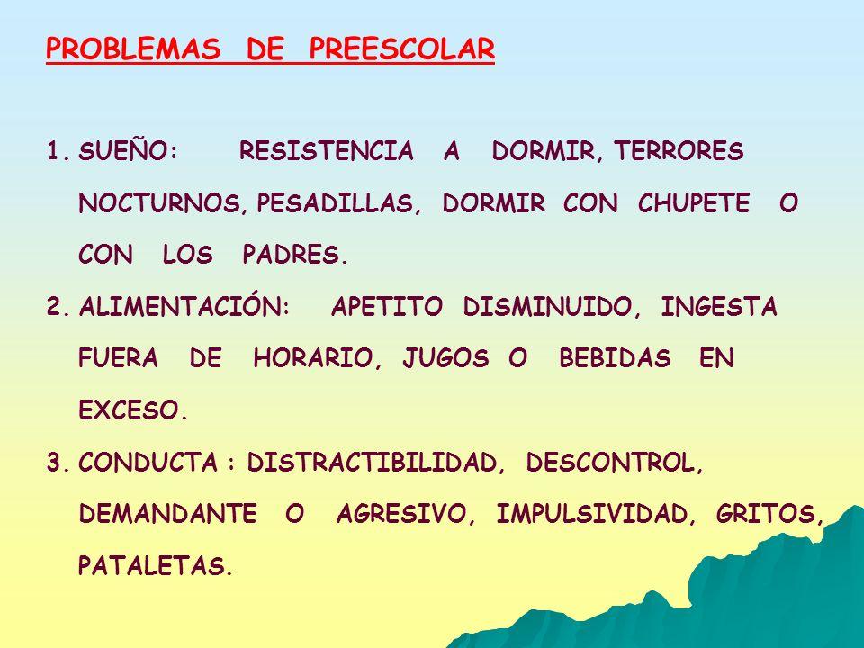 PROBLEMAS DE PREESCOLAR 1.SUEÑO: RESISTENCIA A DORMIR, TERRORES NOCTURNOS, PESADILLAS, DORMIR CON CHUPETE O CON LOS PADRES. 2.ALIMENTACIÓN: APETITO DI