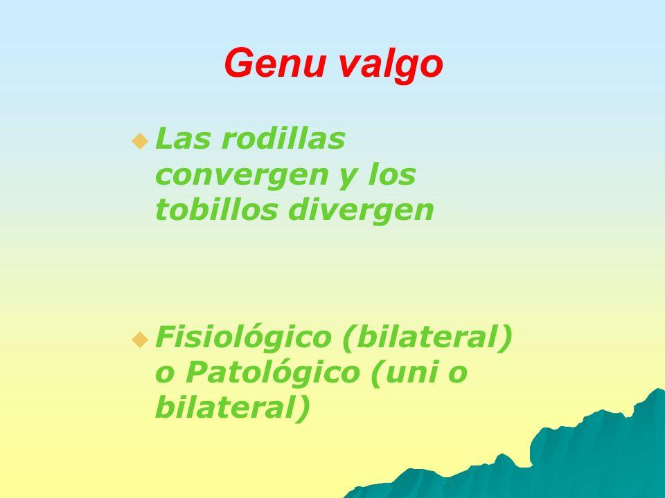 Genu valgo Las rodillas convergen y los tobillos divergen Fisiológico (bilateral) o Patológico (uni o bilateral)