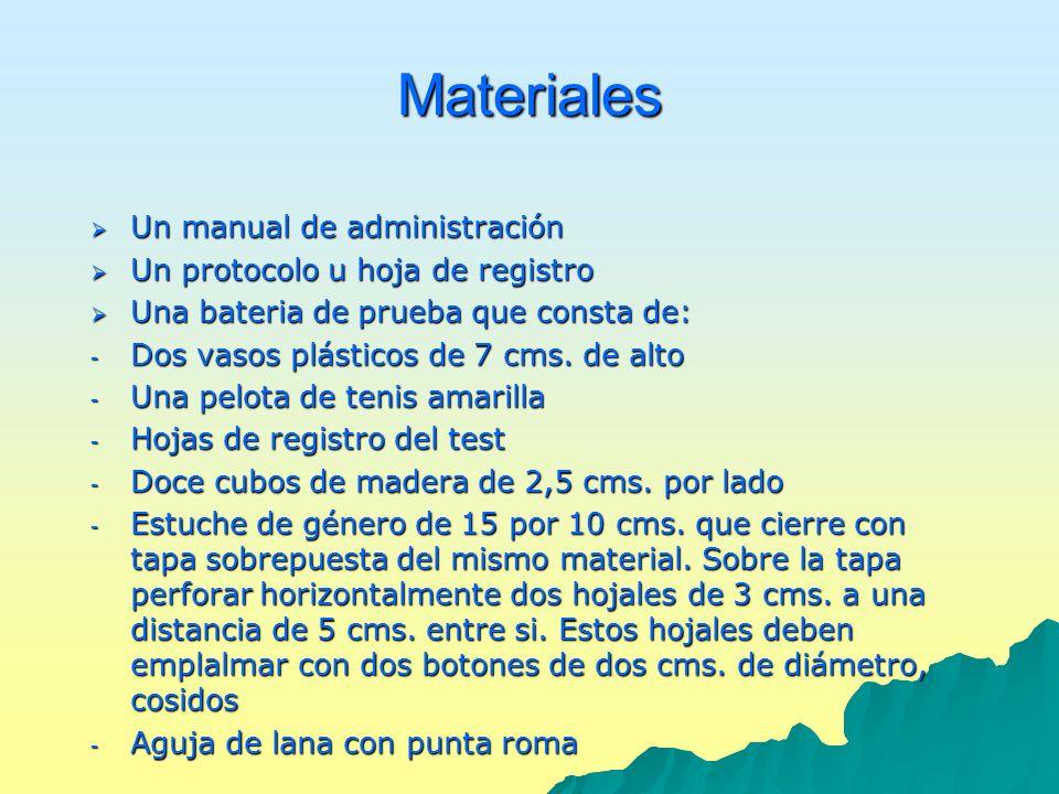 Materiales Un manual de administración Un manual de administración Un protocolo u hoja de registro Un protocolo u hoja de registro Una bateria de prue