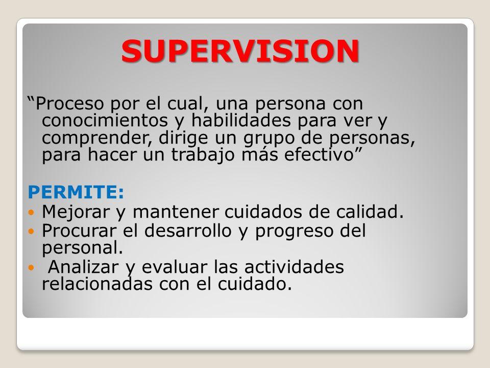SUPERVISION Proceso por el cual, una persona con conocimientos y habilidades para ver y comprender, dirige un grupo de personas, para hacer un trabajo