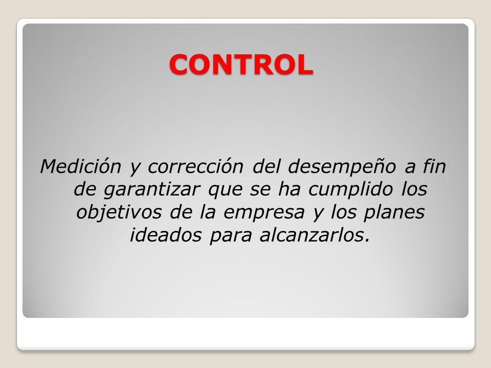 CONTROL Medición y corrección del desempeño a fin de garantizar que se ha cumplido los objetivos de la empresa y los planes ideados para alcanzarlos.