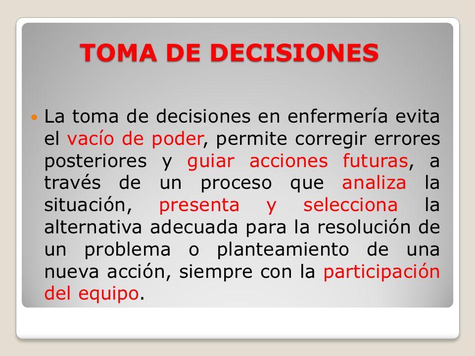 TOMA DE DECISIONES La toma de decisiones en enfermería evita el vacío de poder, permite corregir errores posteriores y guiar acciones futuras, a travé