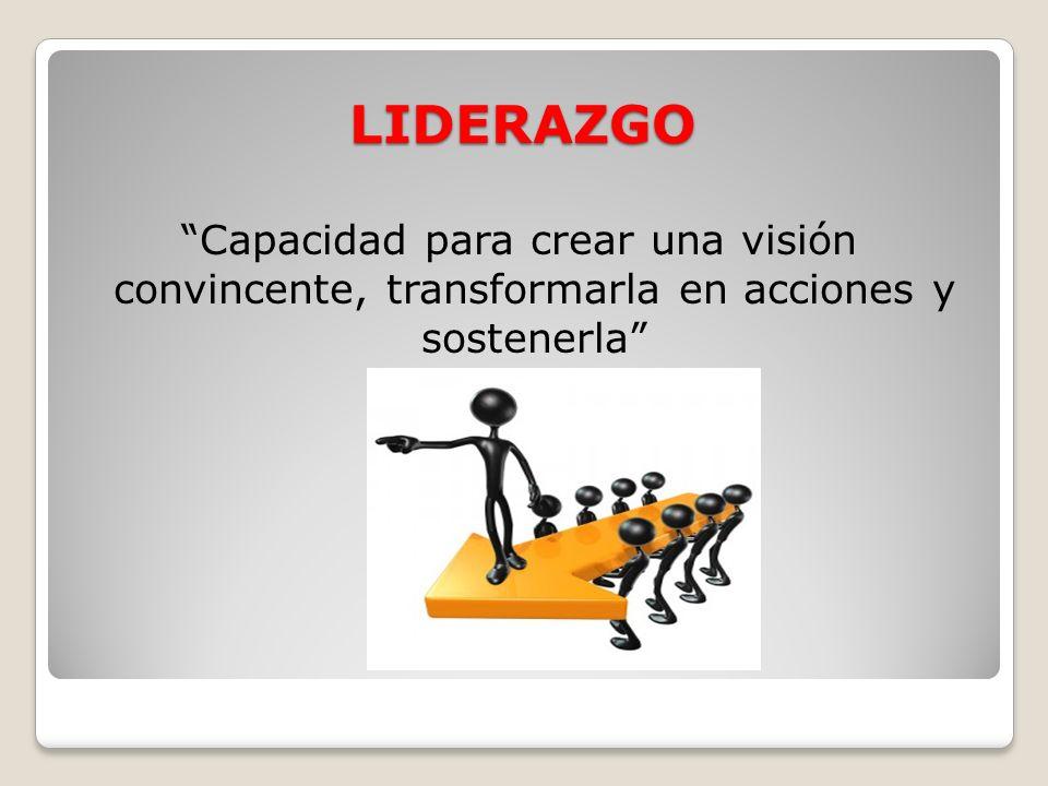 LIDERAZGO Capacidad para crear una visión convincente, transformarla en acciones y sostenerla