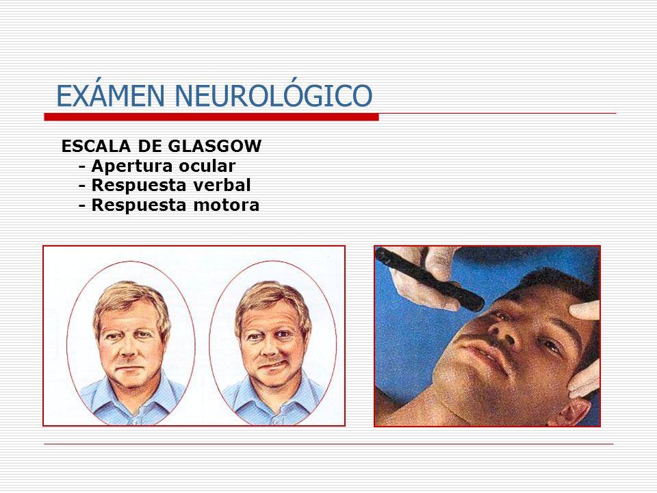 EXÁMEN NEUROLÓGICO ESCALA DE GLASGOW - Apertura ocular - Respuesta verbal - Respuesta motora