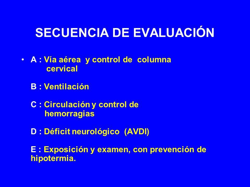 SECUENCIA DE EVALUACIÓN A : Vía aérea y control de columna cervical B : Ventilación C : Circulación y control de hemorragias D : Déficit neurológico (