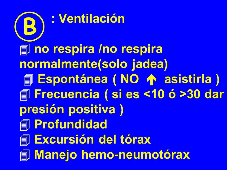 : Ventilación no respira /no respira normalmente(solo jadea) Espontánea ( NO asistirla ) Frecuencia ( si es 30 dar presión positiva ) Profundidad Excu
