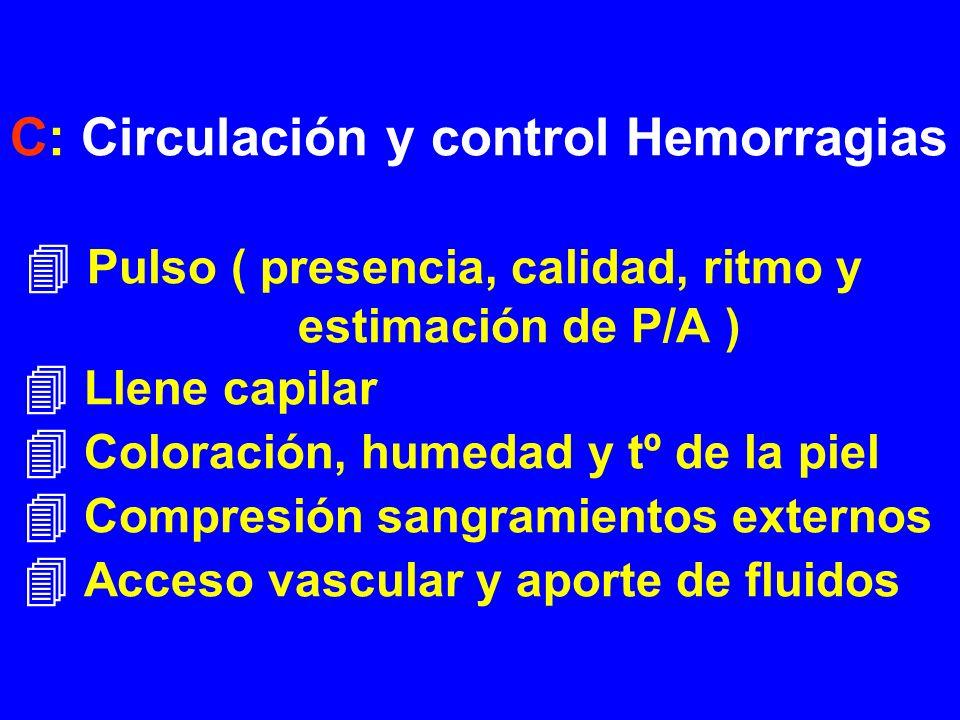 C: Circulación y control Hemorragias Pulso ( presencia, calidad, ritmo y estimación de P/A ) Llene capilar Coloración, humedad y tº de la piel Compres