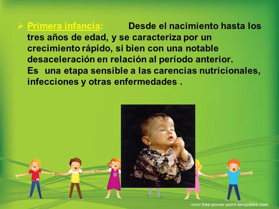 Primera infancia: Desde el nacimiento hasta los tres años de edad, y se caracteriza por un crecimiento rápido, si bien con una notable desaceleración