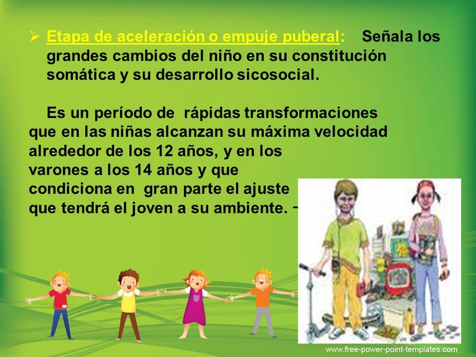 Etapa de aceleración o empuje puberal: Señala los grandes cambios del niño en su constitución somática y su desarrollo sicosocial. Es un período de rá