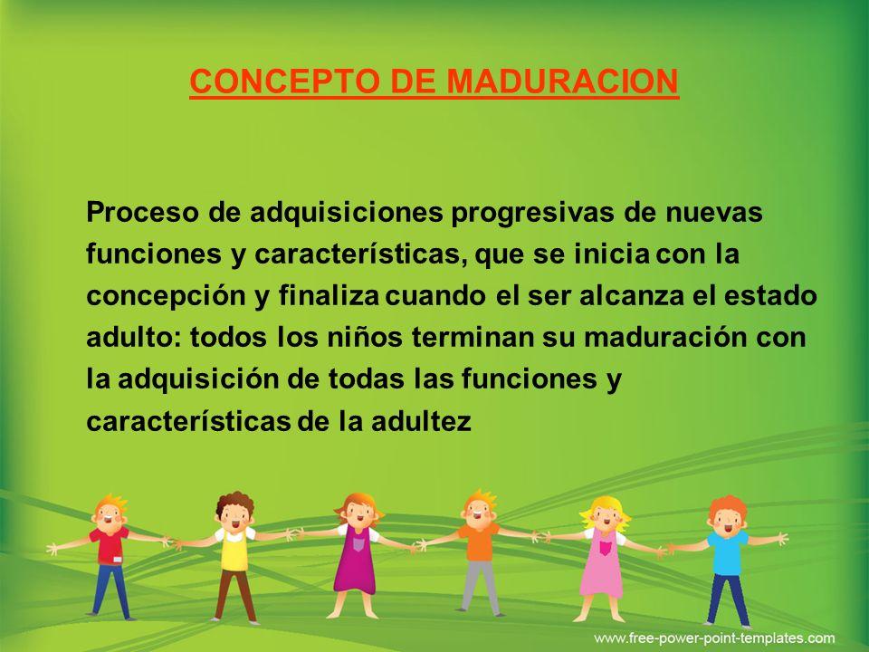CONCEPTO DE MADURACION Proceso de adquisiciones progresivas de nuevas funciones y características, que se inicia con la concepción y finaliza cuando e