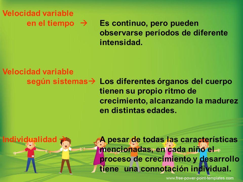 Velocidad variable en el tiempo Es continuo, pero pueden observarse períodos de diferente intensidad. Velocidad variable según sistemas Los diferentes