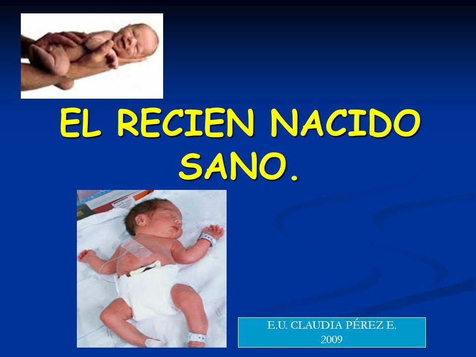 EL RECIEN NACIDO SANO. E.U. CLAUDIA PÉREZ E. 2009