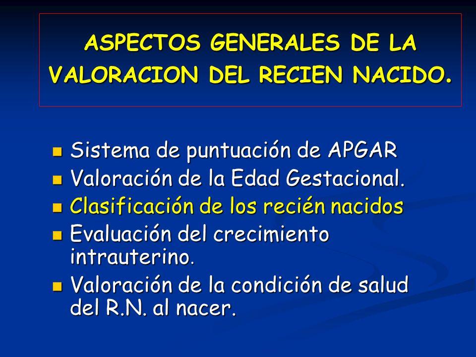 ASPECTOS GENERALES DE LA VALORACION DEL RECIEN NACIDO. Sistema de puntuación de APGAR Sistema de puntuación de APGAR Valoración de la Edad Gestacional