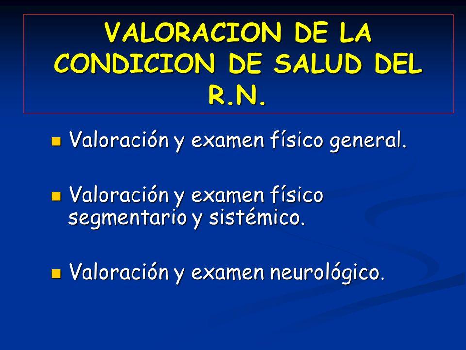 VALORACION DE LA CONDICION DE SALUD DEL R.N. Valoración y examen físico general. Valoración y examen físico general. Valoración y examen físico segmen
