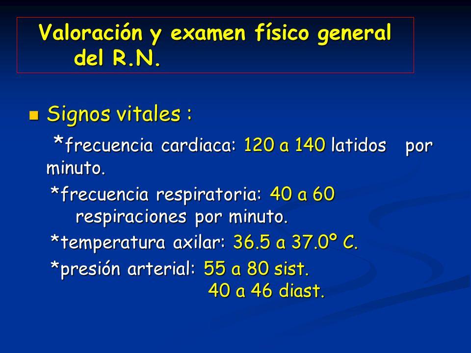 Valoración y examen físico general del R.N. Signos vitales : Signos vitales : * frecuencia cardiaca: 120 a 140 latidos por minuto. * frecuencia cardia