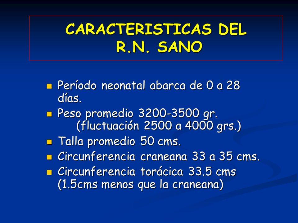 CARACTERISTICAS DEL R.N. SANO Período neonatal abarca de 0 a 28 días. Período neonatal abarca de 0 a 28 días. Peso promedio 3200-3500 gr. (fluctuación