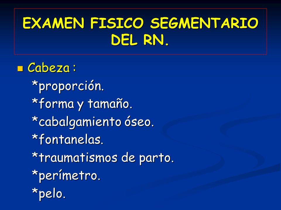 EXAMEN FISICO SEGMENTARIO DEL RN. Cabeza : Cabeza : *proporción. *proporción. *forma y tamaño. *forma y tamaño. *cabalgamiento óseo. *cabalgamiento ós