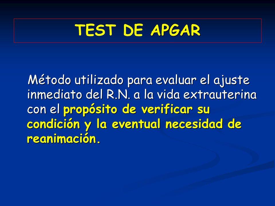APGAR TEST DE APGAR Método utilizado para evaluar el ajuste inmediato del R.N. a la vida extrauterina con el propósito de verificar su condición y la