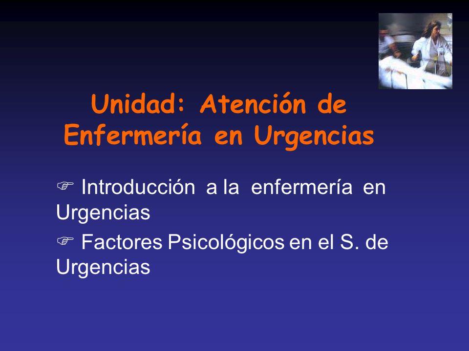 Unidad: Atención de Enfermería en Urgencias F Introducción a la enfermería en Urgencias F Factores Psicológicos en el S. de Urgencias