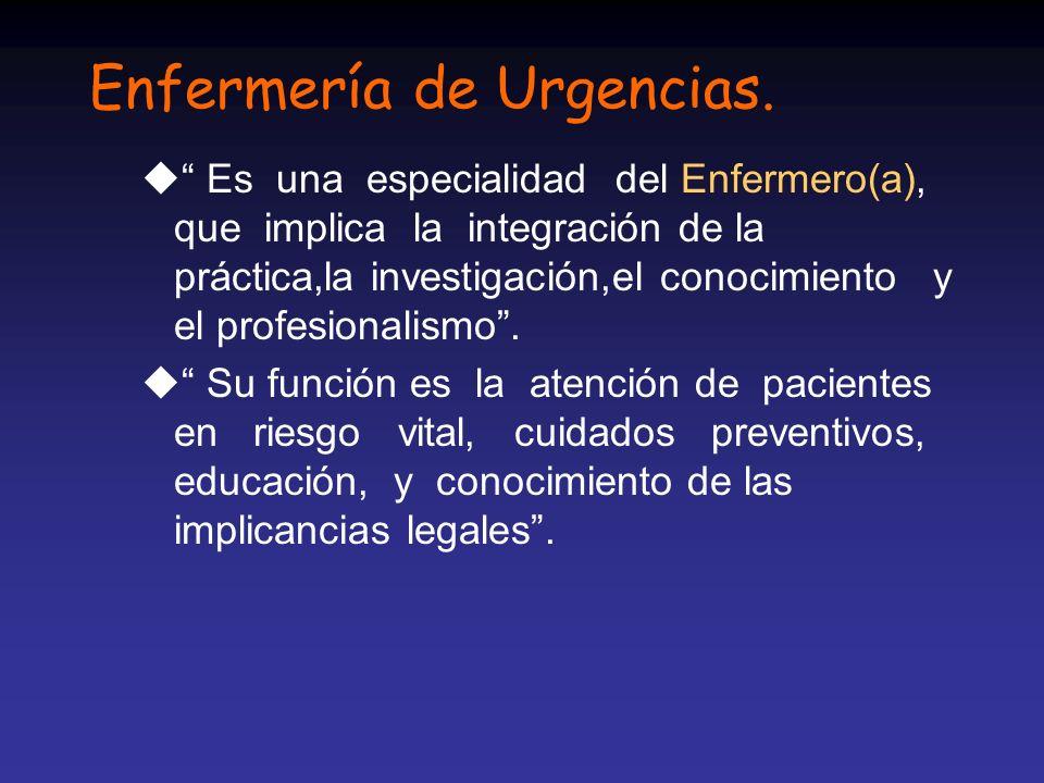 Enfermería de Urgencias. u Es una especialidad del Enfermero(a), que implica la integración de la práctica,la investigación,el conocimiento y el profe