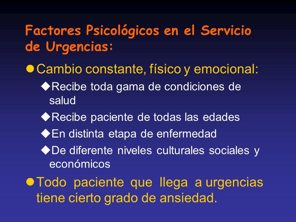 Factores Psicológicos en el Servicio de Urgencias: lCambio constante, físico y emocional: uRecibe toda gama de condiciones de salud uRecibe paciente d