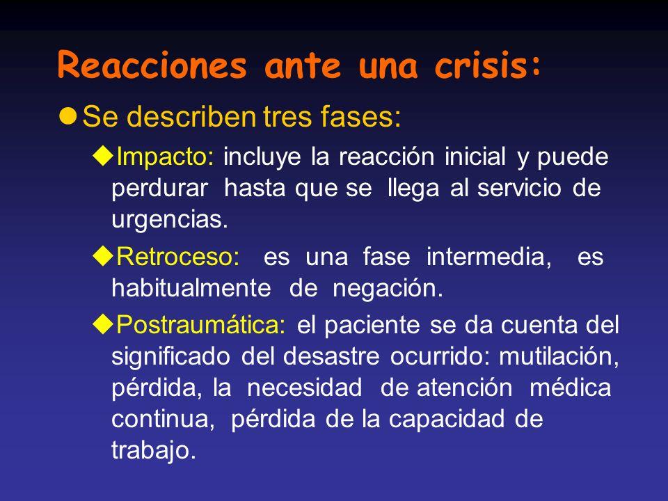 Reacciones ante una crisis: lSe describen tres fases: uImpacto: incluye la reacción inicial y puede perdurar hasta que se llega al servicio de urgenci