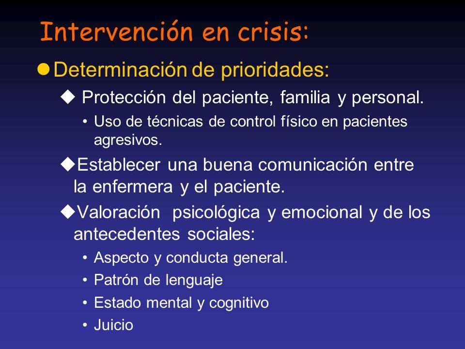 Intervención en crisis: lDeterminación de prioridades: u Protección del paciente, familia y personal. Uso de técnicas de control físico en pacientes a