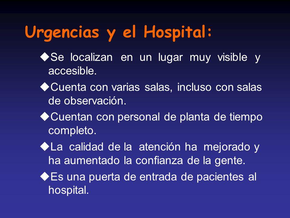 Urgencias y el Hospital: uSe localizan en un lugar muy visible y accesible. uCuenta con varias salas, incluso con salas de observación. uCuentan con p