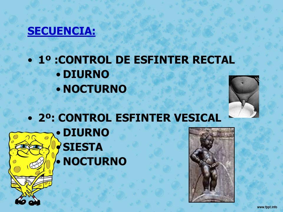 SECUENCIA: 1º :CONTROL DE ESFINTER RECTAL DIURNO NOCTURNO 2º: CONTROL ESFINTER VESICAL DIURNO SIESTA NOCTURNO