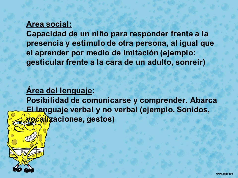 Area social: Capacidad de un niño para responder frente a la presencia y estimulo de otra persona, al igual que el aprender por medio de imitación (ej