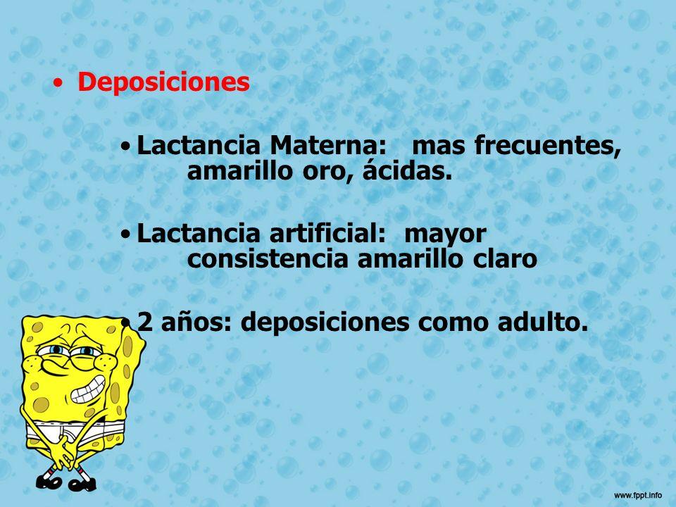 Deposiciones Lactancia Materna: mas frecuentes, amarillo oro, ácidas. Lactancia artificial: mayor consistencia amarillo claro 2 años: deposiciones com