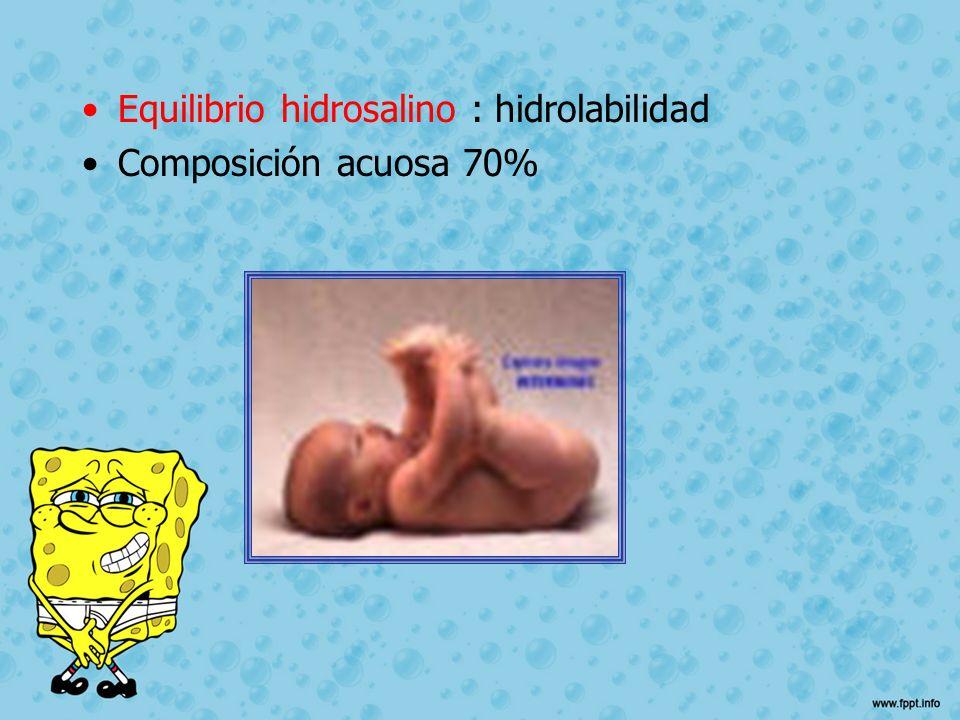 Equilibrio hidrosalino : hidrolabilidad Composición acuosa 70%