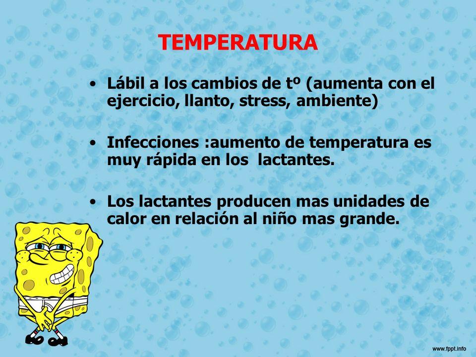 TEMPERATURA Lábil a los cambios de tº (aumenta con el ejercicio, llanto, stress, ambiente) Infecciones :aumento de temperatura es muy rápida en los la