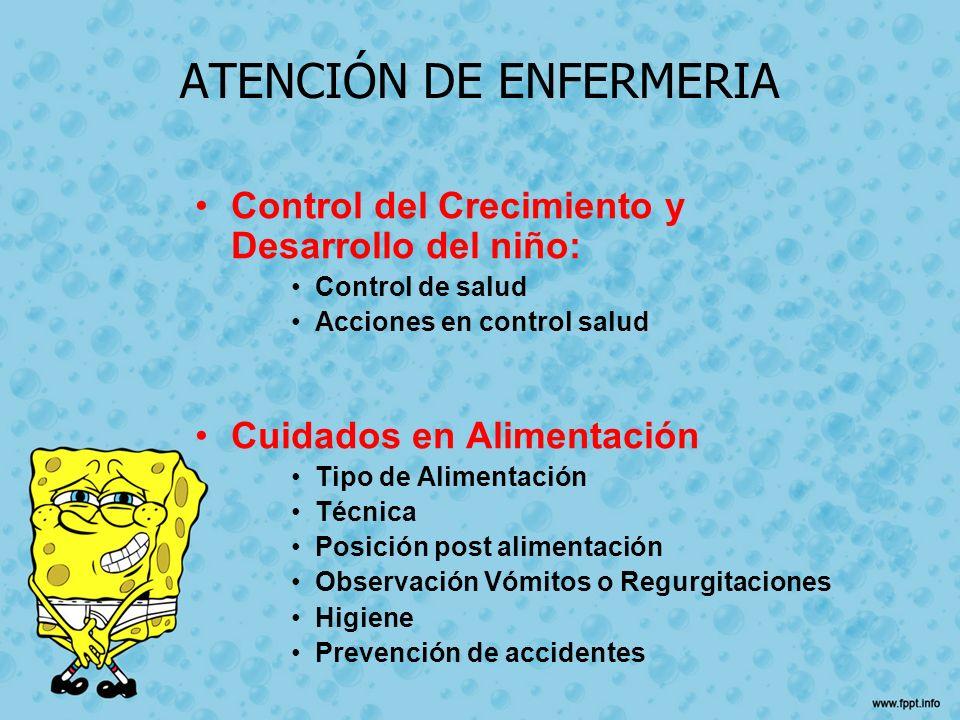 ATENCIÓN DE ENFERMERIA Control del Crecimiento y Desarrollo del niño: Control de salud Acciones en control salud Cuidados en Alimentación Tipo de Alim